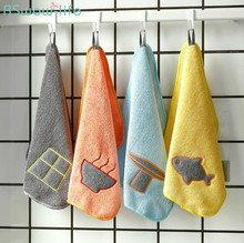 2Pcs Dishcloth With Fibre Absorbent Scouring Pad Microfiber Cleaning Cloth Kitchen Towel  Household Wash Dishes Hangable