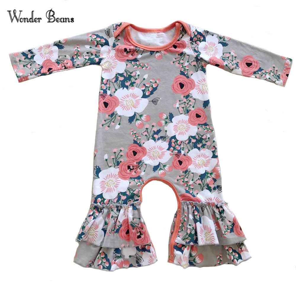 Baby Girl Romper Newborn Baby Spring Long Sleeve Ruffle Romper Infant Onesie Cotton Baby Ruffle Jumpsuit Baby Clothes ruffle embellished flower print cami jumpsuit