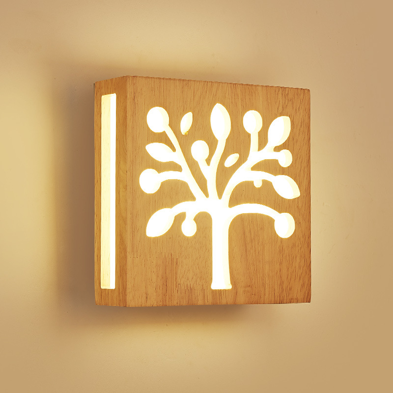 Modern bedside wall lamp simple creative solid wood LED energy saving bedroom living room aisle corridor hotel light IY121770 bedroom bedside wood led aisle corridor light northern europe simple living room wooden acrylic round wall lamp free shipping