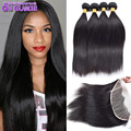 13x4 Lace Frontal Closure With Bundles 7A Peruvian Straight Hair With Closure Peruvian Virgin Hair 3 Bundle Deals With Closure