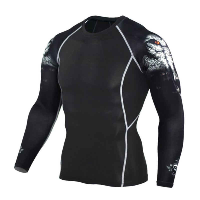 2017 Männer Sport Jogging Fitness T Shirt Trainingsanzug Männer Trocknen Schnell Compression Langarm-shirt Lauf T Tops