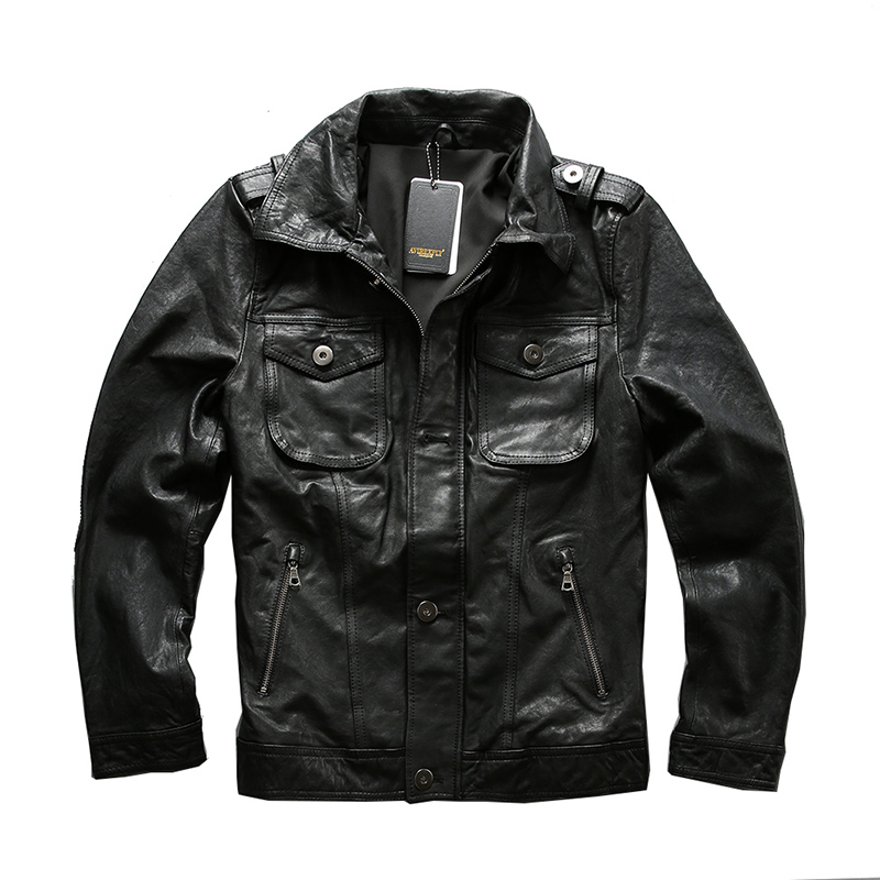 Read Description! Asian size men's suede leather outwear mens leather coat goat leather vintage rider jacket A1702 19