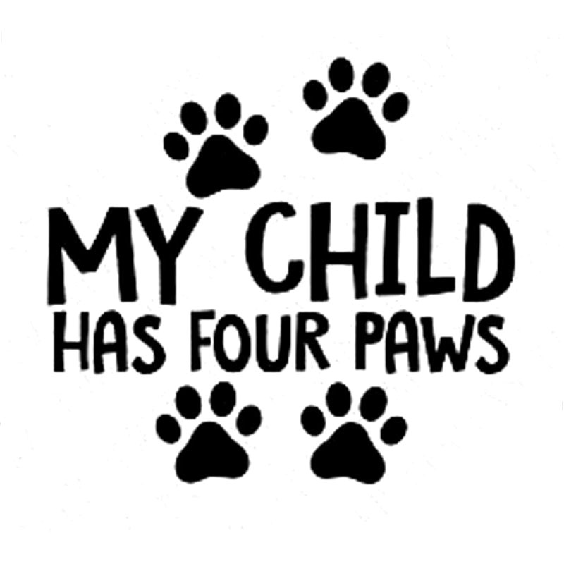13.5CM*12.3CM My Child Has Four Paws Car Truck Vinyl Decal Sticker Dog Cat Pet Cute Car Styling Car Sticker Black/Sliver C8-0181 car styling for english french bulldog pet dog paws love hearts car window laptop decal sticker