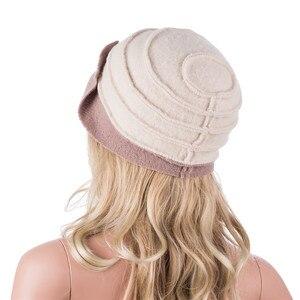 Image 4 - Kadın kış şapka yaprakları dantelli etkisi yün bere şapkalar kadınlar için Cloche kova şapka bayanlar şapkalar sonbahar kış Skullies kap A375
