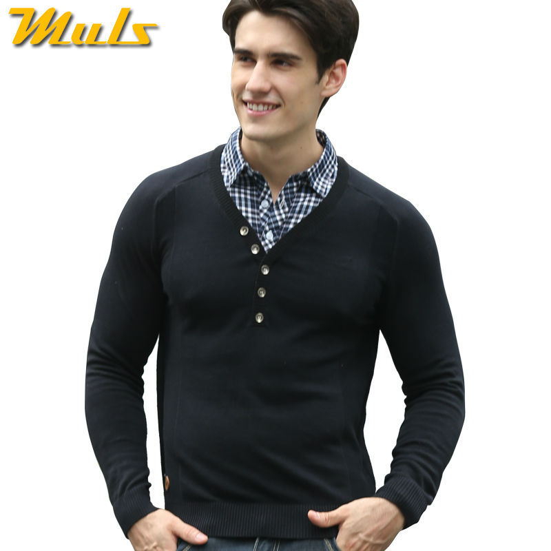 Black Cotton Jackets Men Plaid Sweater Polo Shirt Fashion Mens