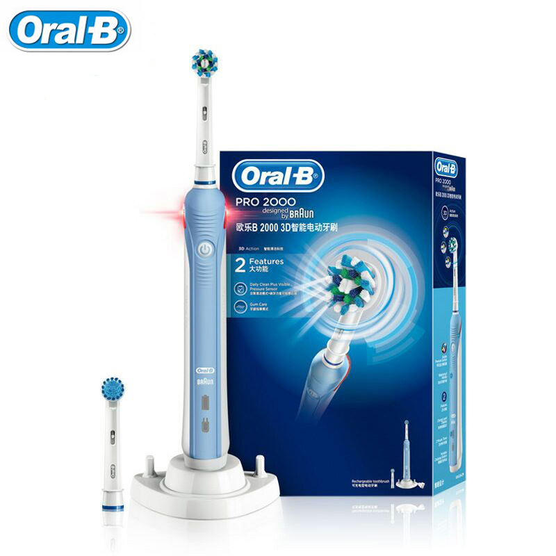Oral-B PRO 2000 3D Electric Toothbrush For Adult Teeth Whitening Rechargeable Teeth Brush Deep Clean from Germany 2017 teeth whitening oral irrigator electric teeth cleaning machine irrigador dental water flosser professional teeth care tools