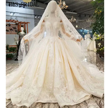 H&S BRIDAL Satin Empire wedding dress Long Sleeve Luxury Crystal Wedding Gown vestido de noiva 2019 with crystal lace veil