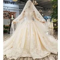 H&S BRIDAL Satin Empire wedding dress Long Sleeve Luxury Crystal Wedding Gown vestido de noiva 2019 with crystal lace veil