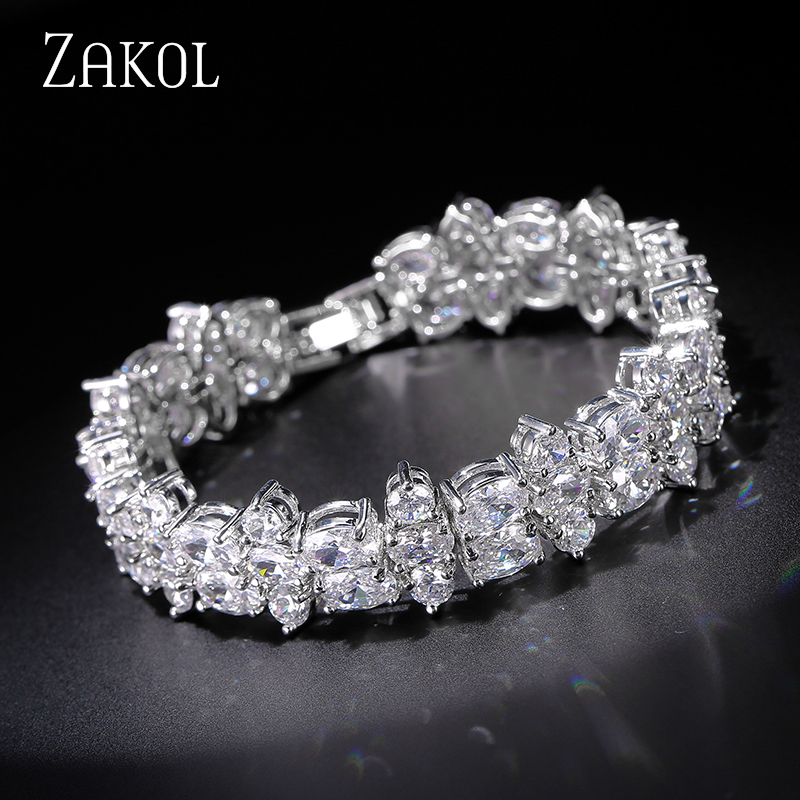 ZAKOL Specially Designed Round Oval Cubic Zirconia Bracelet bangle For Elegant Women Wedding Dinner Dress FSBP042 pair of elegant faux gem zircon oval floral bracelet for women