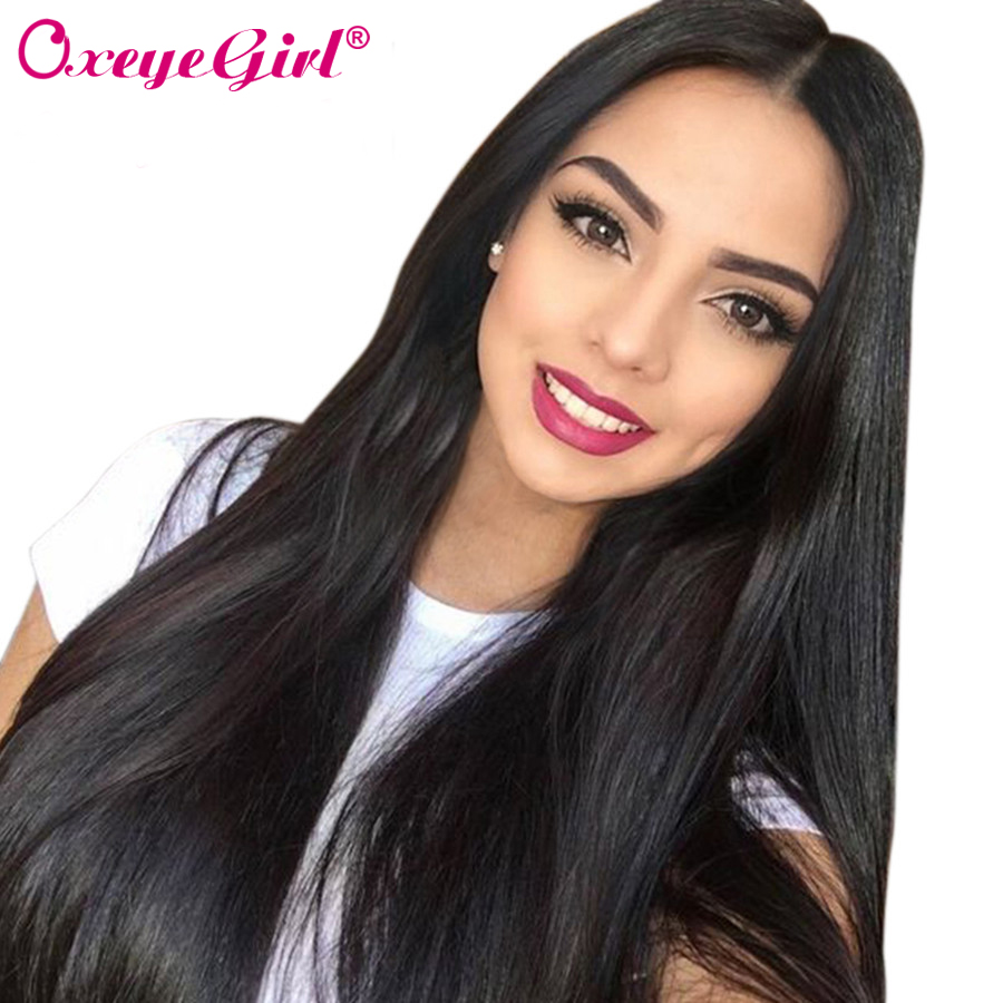 Oxeye girl Brazilian Straight Hair Glueless Full Lace Human Hair Wigs With Baby Hair For Women Natural Black Non-Remy Hair Wig