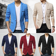 Fashion Men s Long Sleeve Slim Fit One Button Jacket Blazer Wedding Office Coat
