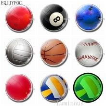 Luminous Fridge Magnets 30 Mm Glass Refrigerator Decoration Basketball, Snooker, Volleyball