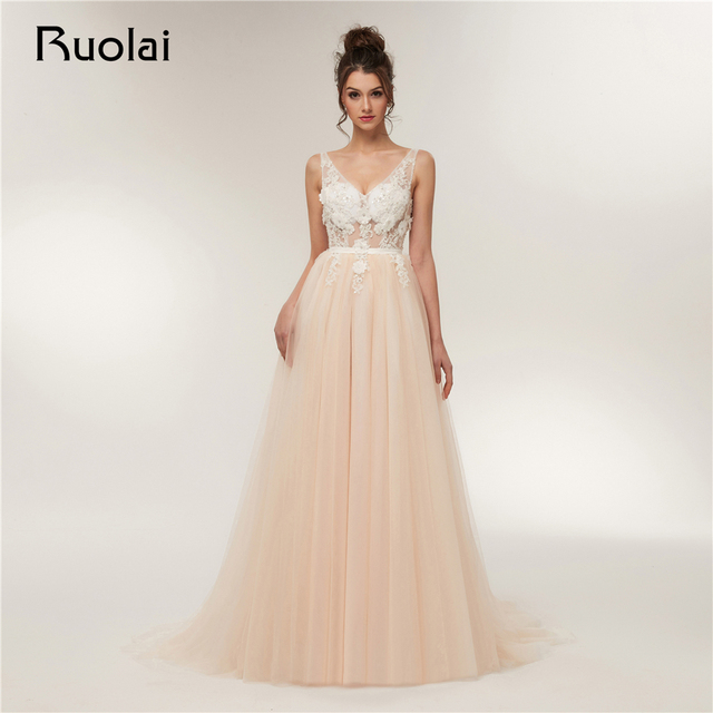 Real Photo Sexy Evening Dresses Long 2019 V-Neck A-Line Tulle Floral Beaded Champagne Prom Dress See Through Robe de Soiree RE2