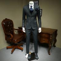 XM GEEKI Men Casual Suit Jackets Spring and Summer Suits Blazers Slim Fit Mens 3 Pieces Suits Male Dark Grey Plaid Suit 365wt35