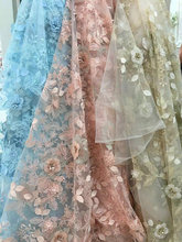1 yard Exquisite Blue 3D Rhinestone Beaded Blossom Bridal Lace Fabric Prom Dress nging Haute Couture High End 51 width