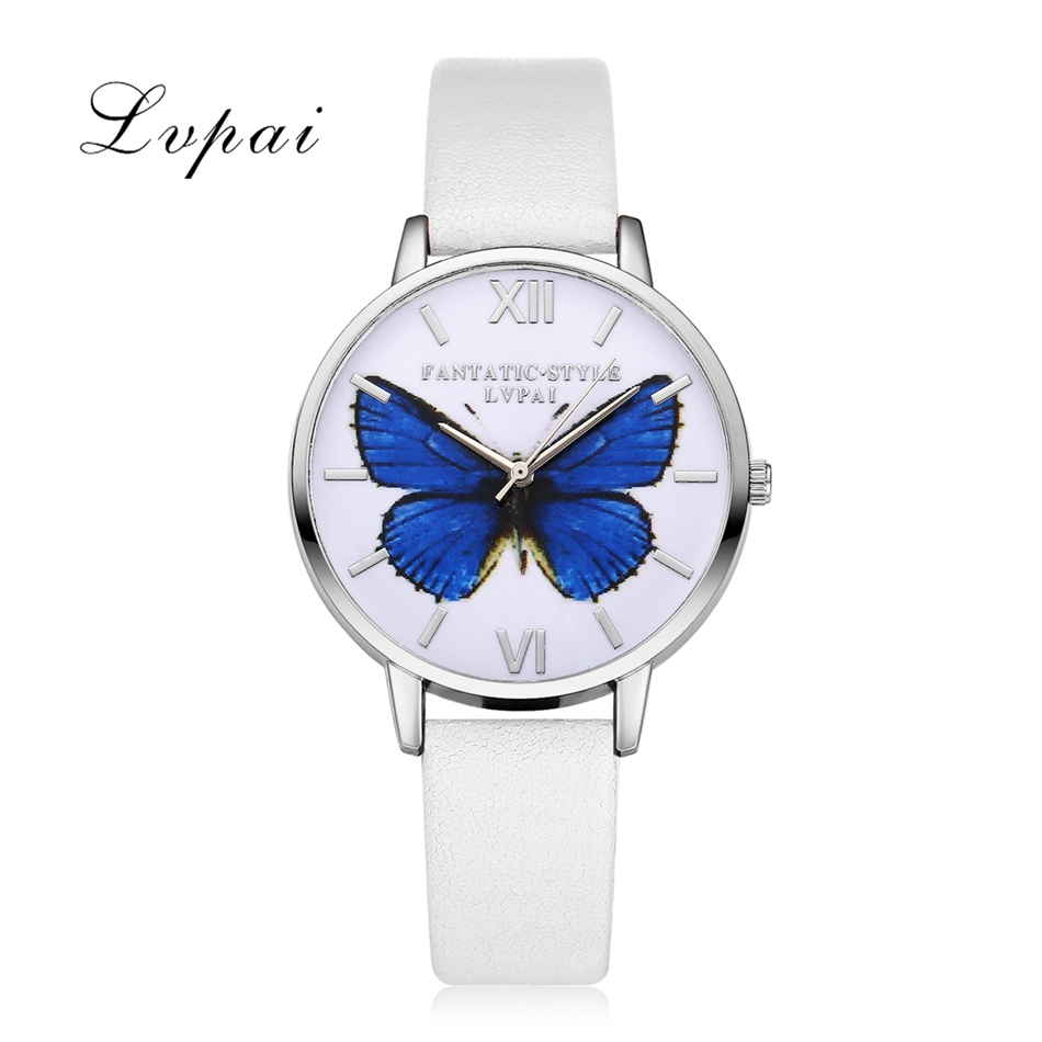 2017 Hot Sale Lvpai Luxury Brand Women Bracelet Watch Leather Butterfly Quartz WristWatches Women Dress Watches Christmas Gift 2016 new hot sale brand magic star black white analog quartz bracelet watch wristwatches for women girls men lovers op001