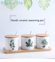 3pcs Ceramic Cruet Set Nordic Creative Home Green Planting Pot with Wooden Mats and Spoon Kitchen Supplies