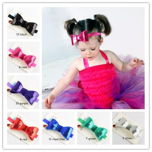 Упаковка карточки 4,5 »большой вышивкой ободки с блестками и бантом для девочек бутик бантики, аксессуары для волос 10 шт./лот FDA76