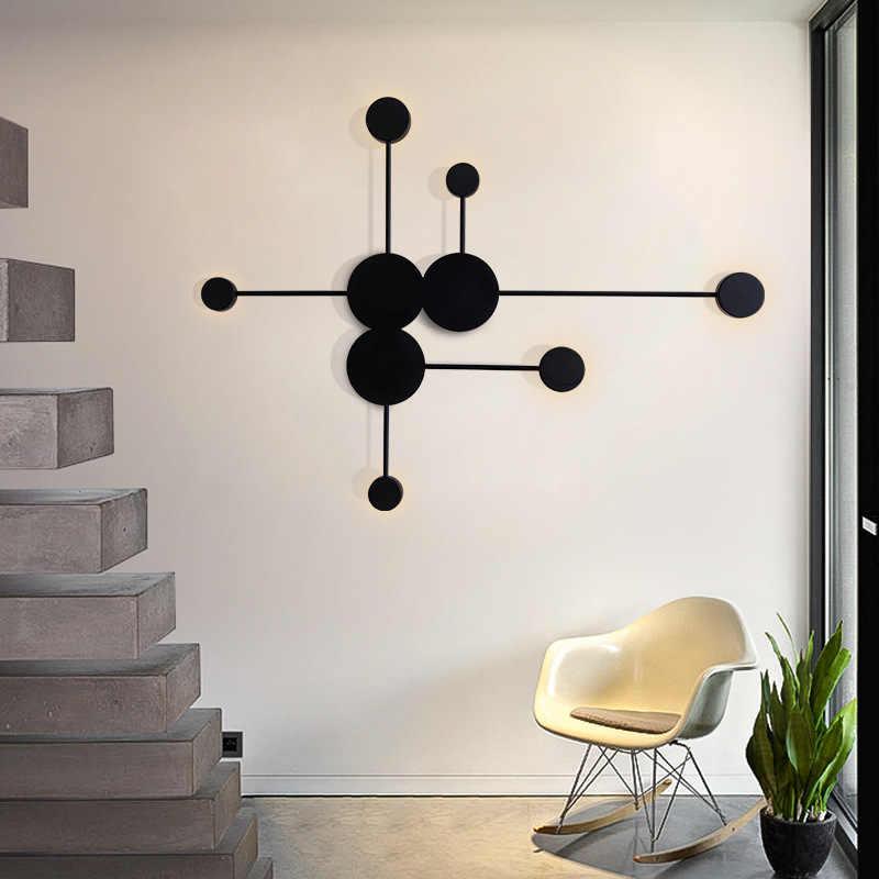 New Nordic Kreatif Lampu Dinding LED Modern Ruang Tamu Lampu Dinding Lorong Perlengkapan Pencahayaan Hitam atau Putih Besi Bulat Dinding tempat Lilin