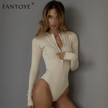 Fantoye Sexy Long Sleeve Bodysuits Women 2018 Autumn Winter Black Slim Bodycon J