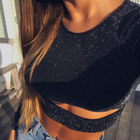 Long Sleeve O-Neck Hollow Out Crop Top