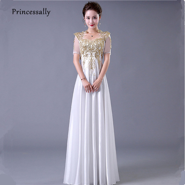 Vestidos New White Bridesmaid Dresses Half Sleeve Gold Appliques Embroidery  Beading Satin Elegant Winter Wedding Prom Party Gown 4959a22b1882