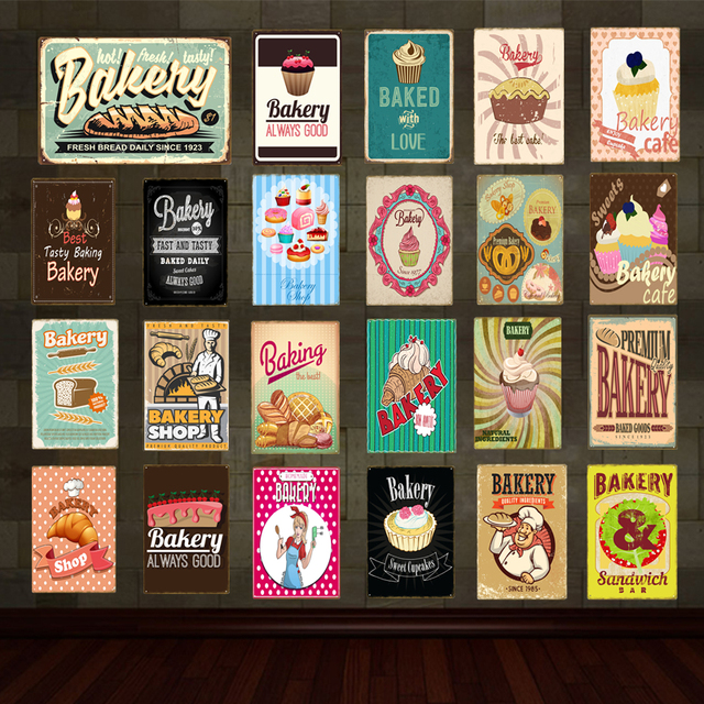 Ordinaire Flash Bakery Metal Signs Sweet Food Sandwich Bar Tin Poster Vintage Home  Kitchen Cafe Shop Decoration