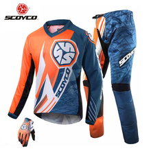 SCOYCO Motorcycle Racing Jersey + Full Finger Gloves + Hip Pads Set Motocross Off-Road Dirt Bike DH Clothing Combinations