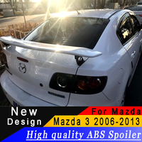 For Mazda 3 bracket spoiler high quality ABS primer or any color racing spoiler for Mazda 3 2006 to 2013 rear wing spoiler