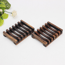 Wooden Natural Bamboo Soap Dish Tray Holder Storage Soap Rack Plate Box Pump Container