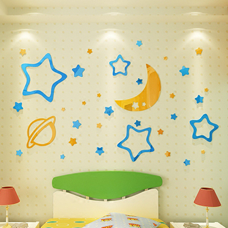 3D Moon Stars sun Acrylic DIY Wall Decor for baby kids room Living ...