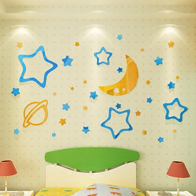 3D Moon Stars sun Acrylic DIY Wall Decor for baby kids room Living ...
