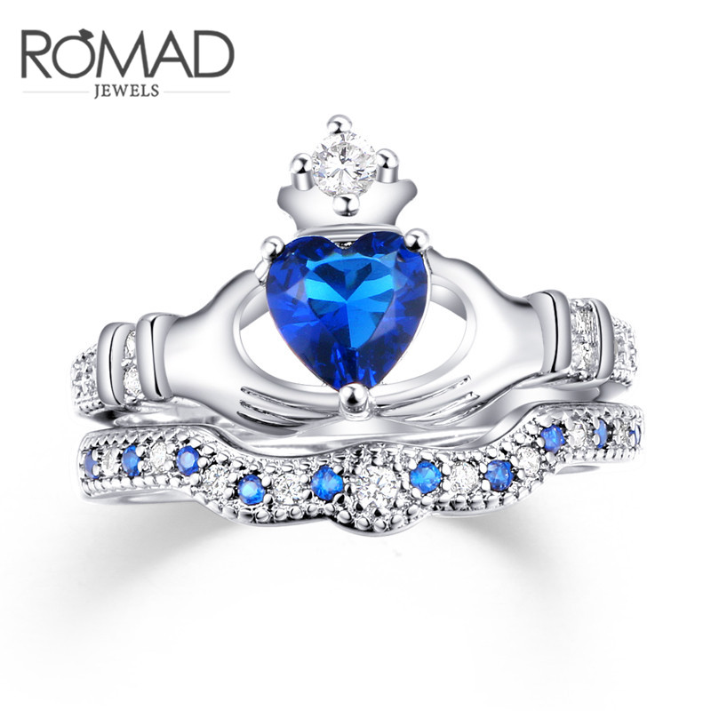 Heart Type Crown Double Ring Ring Queen Ring Noble Fashion Jewelry Size 6 7 8 9 for Women Lady