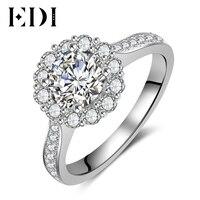 EDI Classic Halo 1CT Round Cut Moissanite Diamond Luxury Wedding Rings For Women 14K 585 White