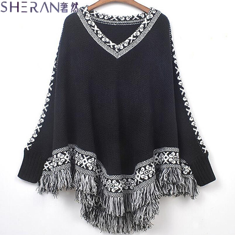 Female shawl fringed cape coat knitted Poncho 2015 Autumn Winter women's asymmetrical sweater women sweaters and pullovers