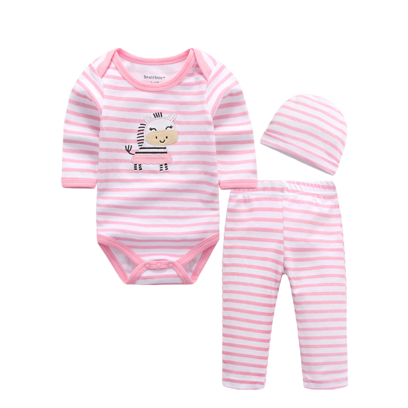 Baby Sets Newborn Boy Girls Clothes Baby Bodysuits Long Sleeve 100% Cotton Infantil Body Suit Bebes Baby Pants and Caps
