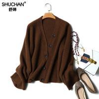 Кардиган shuchan для женщин свитеры для Sueters Mujer Invierno Manga Larga Кардиган женские толстые теплые зимние куртка 17605