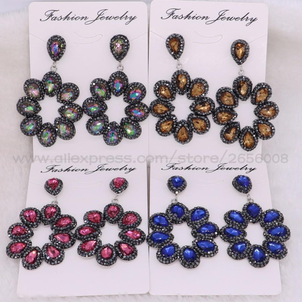 4 Pairs Moda brincos GRANDE Flor do verão cor pedra oscila brincos brincos de Pedras Preciosas jóias artesanais das mulheres 1774
