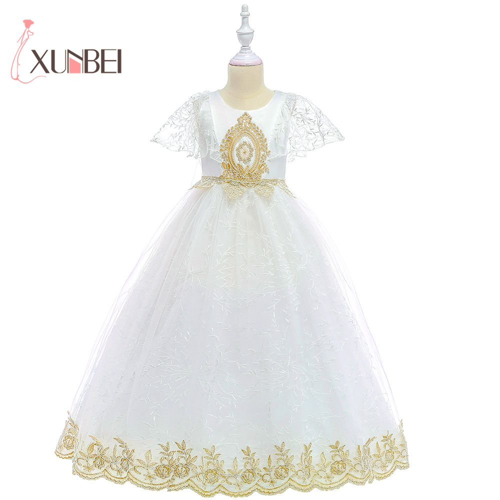 Princess White Long   Flower     Girl     Dresses   2019 Gold Applique   Girls   Pageant   Dress   First Communion   Dresses   Party Gown