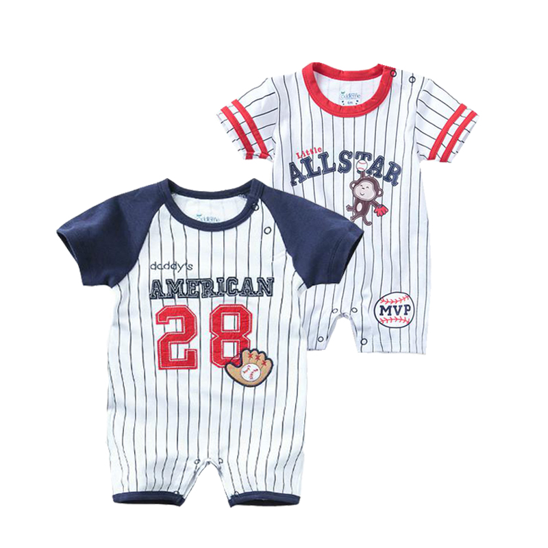 Summer Newborn Baby Clothes Boys Romper Short Sleeve Jumpsuit Cartoon Printed Sports Baseball Rompers Overalls Baby Clothes
