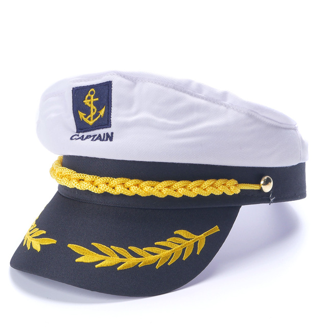 216c96569c2be White Yacht Captain Navy Marine Skipper Ship Sailor Military Nautical Hat  Cap Costume Adults Party Fancy Dress
