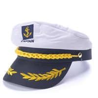 White Yacht Captain Navy Marine Skipper Ship Sailor Military Nautical Hat Cap Costume Adults Party Fancy Dress