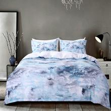 WINLIFE 3 Pcs Microfiber Bedding Set Planet and Blue Marble Print Duvet Cover Without Comforter