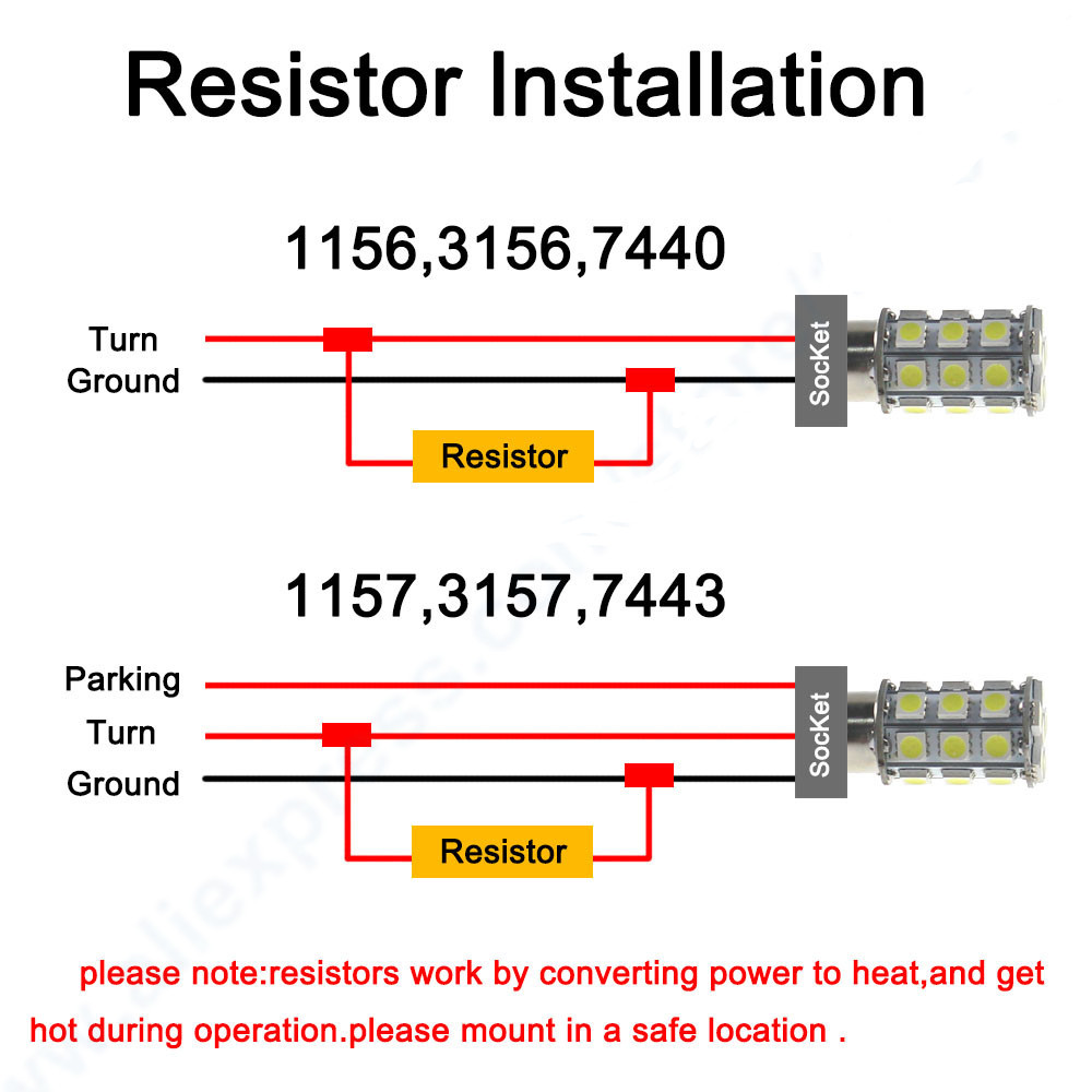 10pcs 50w 6ohm Load Resistors For Hyper Flash Turn Signal Blinker 1157 Socket Wiring Diagram Led Drl Bulb Resistor Fix 7440 7443 1156 Lamp Error In Wire From Automobiles