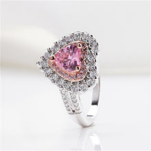 Bijoux Rings For Women S925 Sterling Silver Fine Jewelry Propose Ring Pink Heart Cubic Zirconia Diamant Bridal Wedding Anillos