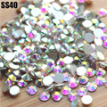 SS40(8.4-8.6mm)144pcs/Bag Clear Crystal AB color 3D Non HotFix FlatBack Nail Art Decorations Flatback Rhinestones