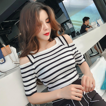 new womens tops and blouses women s floral print camisas mujer v neck short flare sleeve ruffles cold shoulder chiffon blouse Off Shoulder Top Striped 2018 Women Summer Blouse Square Collar Womens Tops And Blouses Causa Short Sleeve Shirt Camisas Mujer