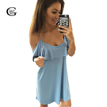 Lace girl robe femme verano off shoulder dress correa de espagueti ruffles casual loose dress de manga corta vestidos de playa 2017