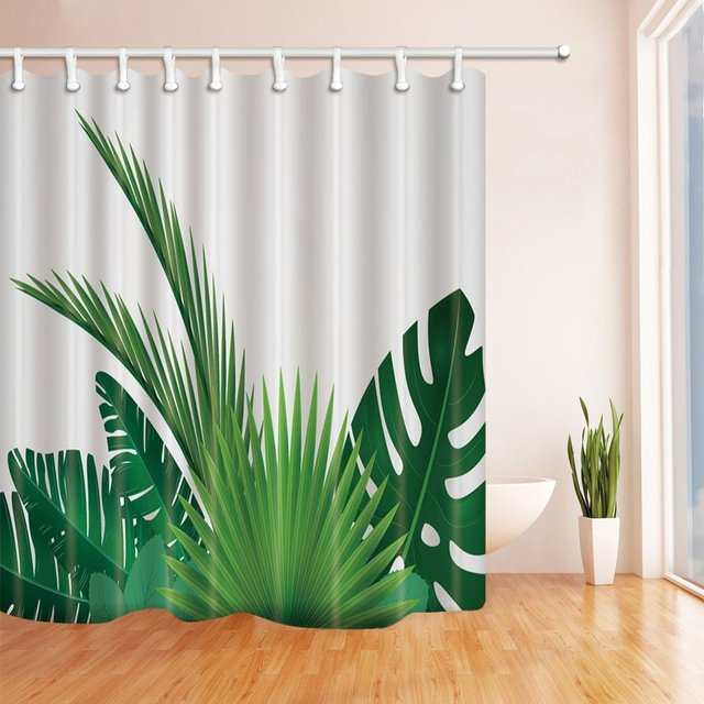 Tropical Plants Decor Banana Leaves Palm Trees In White Shower Curtain,  Mildew Resistant Polyester