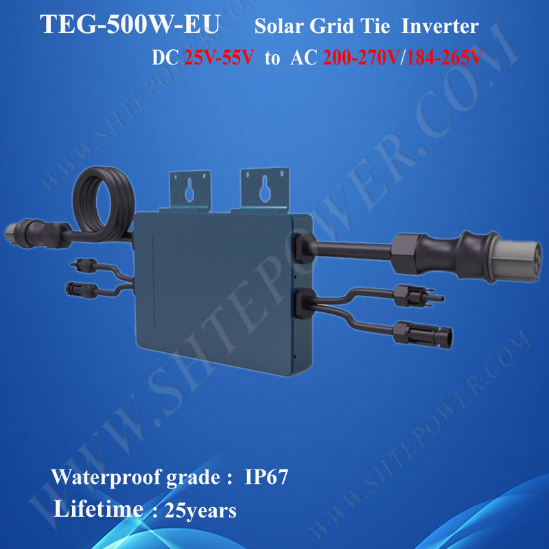500W on grid tie solar PV inverter with IP67 waterproof function dc 25-55v input to ac 184-265V output 300w solar grid on tie inverter dc 10 8 30v input to two voltage ac output 90 130v 190 260v choice